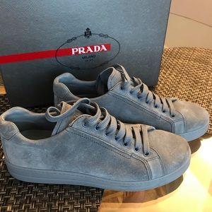 Baby blue suede Prada sneakers